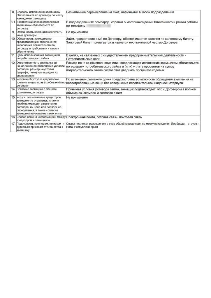 Договор займа, индивидуальные условия, 2 страница