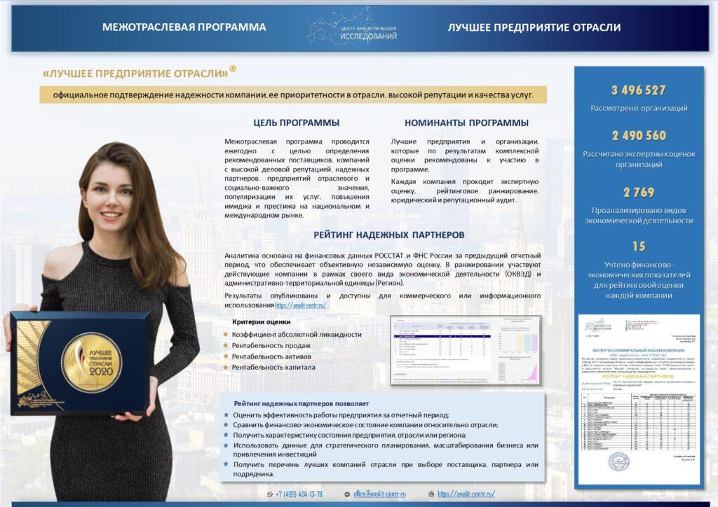 Номинация Центра Аналитических исследований лицевая сторона